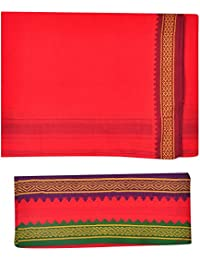 JISB Red Cotton Dhoti with Towel For Men,2 Mtr