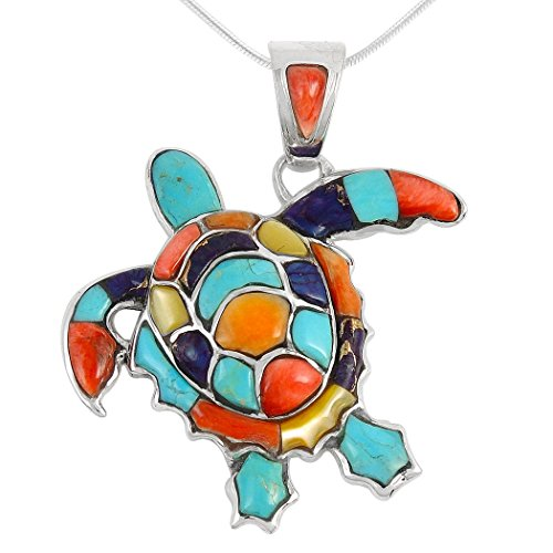Turtle Pendant - Turquoise Network Turtle Pendant Necklace in Sterling Silver 925 & Genuine Gemstones