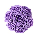 Ling's moment Artificial Flowers 50pcs Lavender Real Looking Artificial Roses w/Stem for Wedding Bouquets Centerpieces Party Baby Shower Decorations DIY