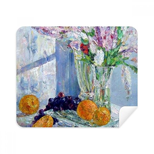 (Still Life Painting Vase Flower Grape Phone Screen Cleaner Glasses Cleaning Cloth 2pcs Suede)