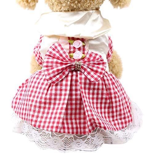 (Geetobby Summer Puppy Dog Dress Thin Cute Princess Ribbon Skirt for Small Pets)