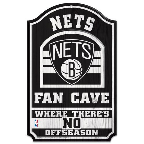 WinCraft NBA Brooklyn Nets 33194012 Wood Sign, 11'' x 17'', Black by WinCraft