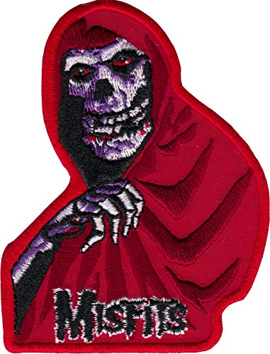 The Misfits - Red Crimson Ghost with Logo - Embroidered Iron On Patch - Misfits Crimson Skeleton