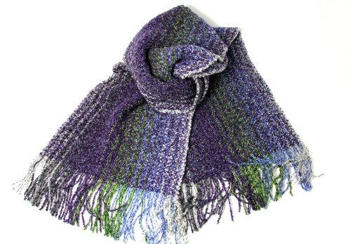 "Wool Scarf Cashmere & Merino Hand Woven Purple 62"""