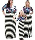 Long Sleeve O-Neck Family Matching Long Dress Mother Girl Printed Maxi Dress (Black&White Stripe, Mom/S)