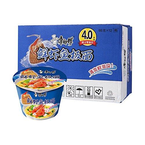 China Good Food 整箱批发China Snacks Food(康师傅 鲜虾鱼板面 12桶 Shrimp fish board Noodle)开心桶泡面 方便面 拉麵 杯面 速食面 by China Good Food