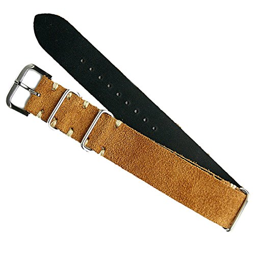 B & R Bands 20mm Camel Italian Suede Vintage Military Style Watch Band (Mens Camel Italian Suede)