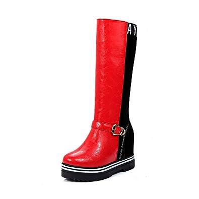 AgooLar Damen Ziehen auf Hoher Absatz Blend-Materialien Rein Mitte-Spitze Stiefel, Rot, 37