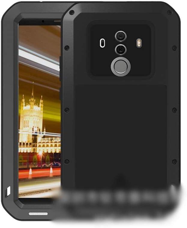 ACHAOHUIXI Huawei P20、P20 Pro、Mate10、Mate10 Pro、Mate9用高級デザイン3つの抗携帯電話シェル メタル保護カバー包括的な飛散防止シェル電話ケース (Color : 黒, Edition : P20)