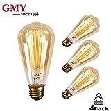 GMY Lighting Vintage Edison Bulb Dimmable ST64 60Watt Teardrop Classic Squirrel Cage Filament Light E26 2200K (4Pack)