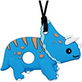 Chew Necklace for Sensory Kids, Boys and Girls - Silicone Dinosaur Chewable Necklace for Autism, Biting, Teething, ADHD, SPD