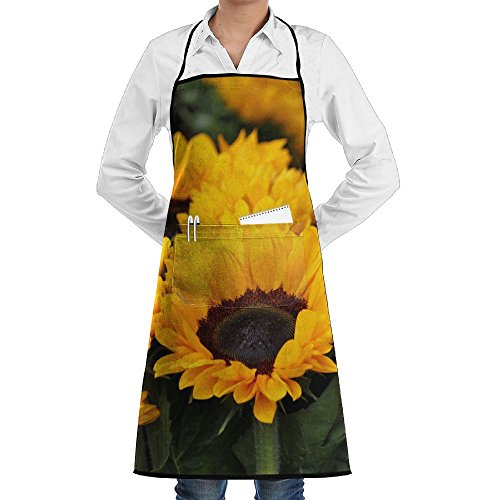 Sunflower Leaf Pattern Apron Lace Adult Mens Womens Chef Adjustable Polyester Long Full Black Cooking Kitchen Aprons Bib With Pockets For Restaurant Baking Crafting Gardening BBQ Grill