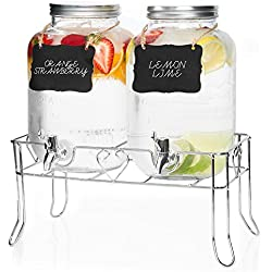 Outdoor Glass Beverage Dispenser 2 Pack with Sturdy Metal Base - Double Drink Dispensers for Lemonade, Tea, Cold Water & More