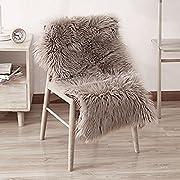 LeeVan Sheepskin Rug Faux Fur Rug Supersoft Fluffy Chair Cover Seat Cover Shaggy Floor Mat Carpet - 2 feet x 3 feet, Coffee