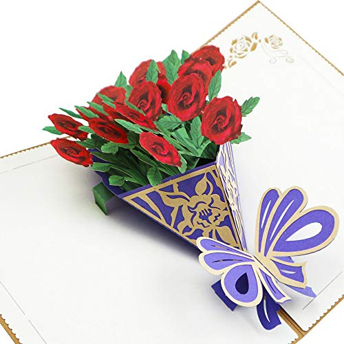 Fusolo 3D Pop up Cards, Rose Cards, Birthday