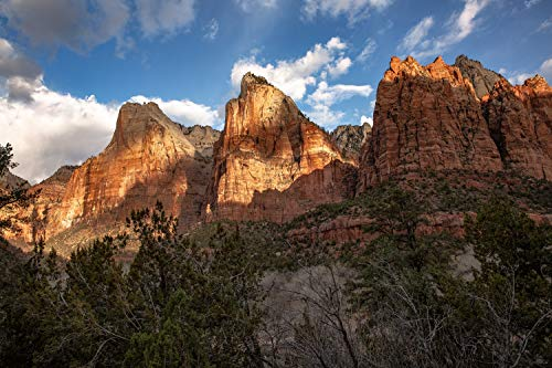 Landscape Photography Wall Art Print - Picture of the Three Patriarchs in Zion National Park Southwest Utah Decor 5x7 to - Utah Park National Photograph