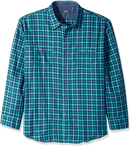 IZOD Mens Long Sleeve Saltwater Twill Easycare Plaid Shirt