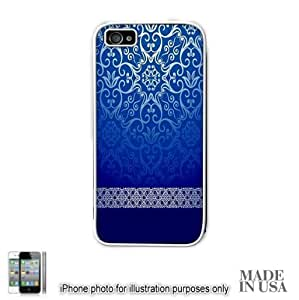Live the Life You Love (Not Actual Glitter) - Vintage Blue Gold Damask Pattern Lace iPhone 4 4S Case - WHITE RUBBER by Unique Design Gifts