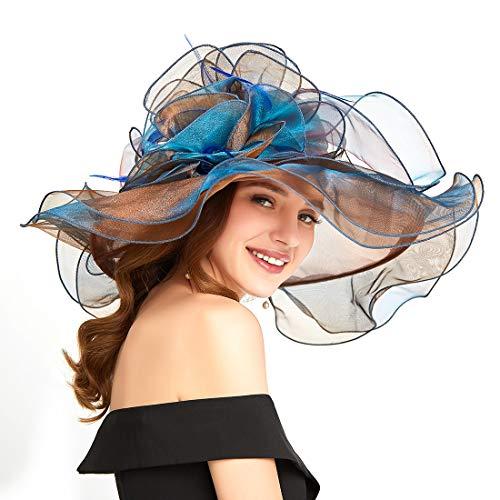 Genuva Women's Organza UV-Anti Church Derby Hat Fascinator Tea Party Wedding Hat Ruffles Wide Brim Bridal Cap (Style 5 - Coffee) ()