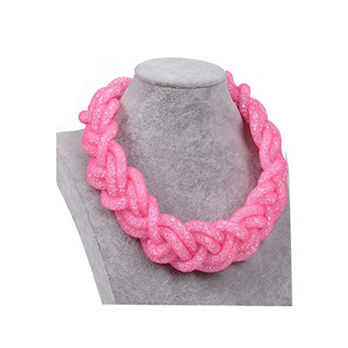 Darkey Wang Women's Fashion Atmosphere Multilayer Network With Diamond Braided Rope Necklace(Pink)