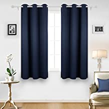 Deconovo Room Darkening Thermal Insulated Blackout Drape Grommet Window Curtain For Bedroom Navy Blue 42Wx63L Inch 1 Panel
