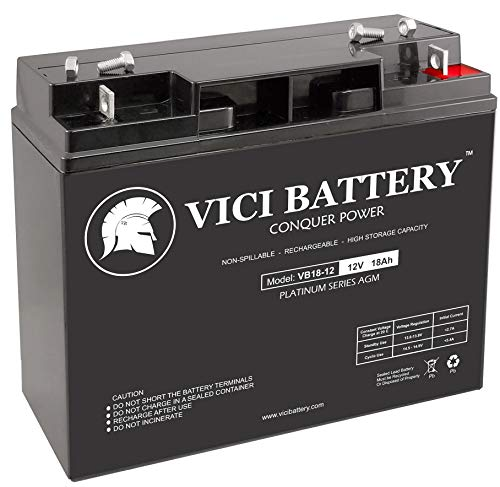 VICI Battery VB18-12 - 12V 18AH Replacement for Solar Booster Pac ES5000 Jump Starter 12V 18Ah Jump Starter Battery ()