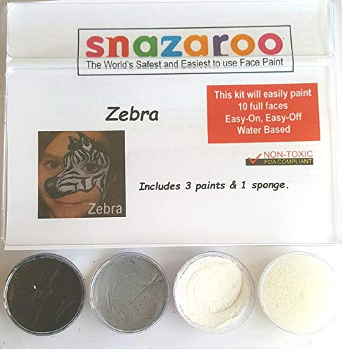 Snazaroo Zebra Face Paint Theme Kit with Sponge ()