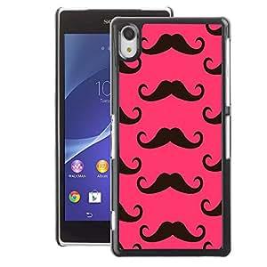 A-type Arte & diseño plástico duro Fundas Cover Cubre Hard Case Cover para Sony Xperia Z2 (Moustache Pink Alternative)