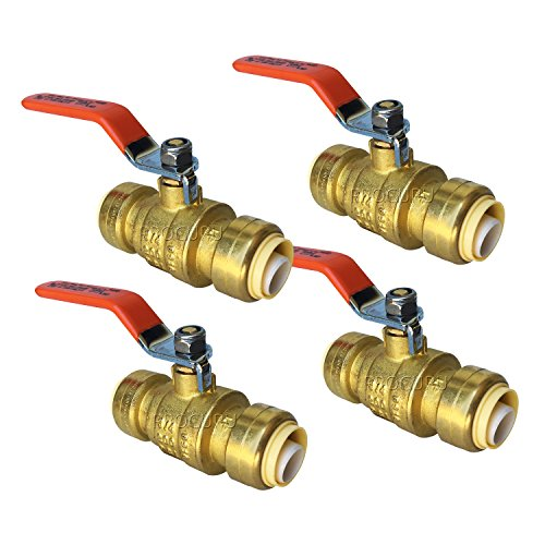 (PROCURU 3/4-Inch PushFit Brass Ball Valve | Push-to-Connect, Full Port, Heavy Duty Valve for Copper, PEX, CPVC, Lead Free Certified (4-Pack, 0.75 Inch (3/4