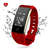 Fitness Tracker-Bluetooth Activity Wristband - Smart Bracelet with Sleep Quality Monitor - IP67 Waterproof Pedometer Samrt Watch with Heart Rate Monitor for IOS and Android(RED)