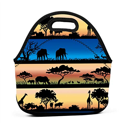 ONUPMIN Ideal Gifts - Insulated Lunch Bag African Wild Animals Acacia Trees Bento Lunch Bag Thermal Cooler Lunch Pouch with Portable Carrying Bag for Men &Women &Kids