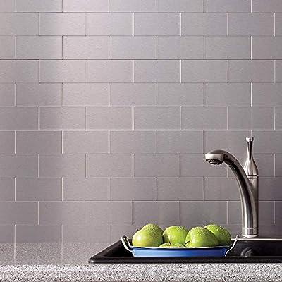 Art3d 32-Piece Peel and Stick Backsplash Tiles, Brushed Metal Subway  Backsplash Tile for Kitchen (3\