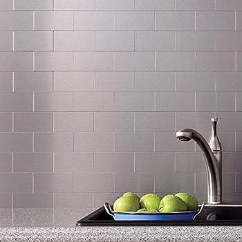 Art3d 32-Piece Peel and Stick Backsplash Tiles, Brushed Metal Subway Backsplash Tile for Kitchen (3