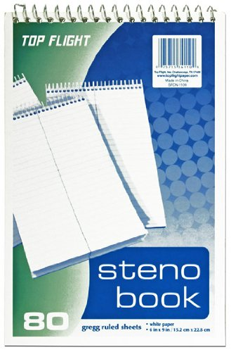 Top Flight Steno Book, Top Wirebound, 6 x 9 Inches, Gregg Ruling, White Paper, 80 Sheets (4600945) by Top Flight