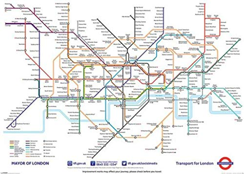 London Underground Map Giant Mural Poster 55x39 inch
