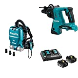 vacuum backpack battery - Makita XCV05ZX 18V X2 LXT (36V) Brushless 1/2-Gal HEPA Filter Backpack Dust Extractor/Vacuum w/ Adapters, XRH05Z 18V X2 LXT 1