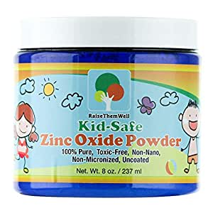 Kid-Safe Zinc Oxide Powder - Non Nano Uncoated Zinc Oxide For Use as a Baby Powder, Sunscreen Powder, Diaper Rash Powder and Cream