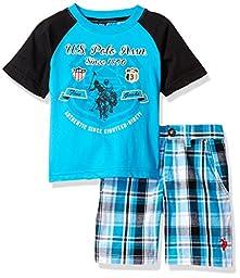 U.S. Polo Assn. Little Boys\' Screen Printed Graphic T-Shirt Short Set, Plaid, 4T