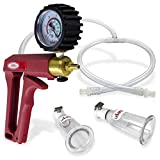 LeLuv Vacuum Pump MAXI Red Handle with Rubber Protected Gauge Natural Body Enhancement Nipple Suction Cups Medium