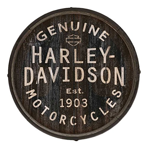 (Harley-Davidson Distressed Genuine H-D Logo Barrel End w/Metal Rim, BE-GEN-Harl )