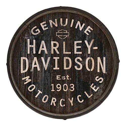 Davidson Harley Crossbones - Harley-Davidson Distressed Genuine H-D Logo Barrel End w/Metal Rim, BE-GEN-Harl