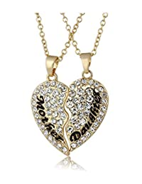 Mother Daughter Necklace 2Pcs Gold Plated Swarovski Elements Crystal Love Heart Necklace for Couple