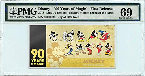 2018 No Mint Mark Disney Mickey Mouse 90th Anniversary 1g Gold Coin Note - Certified PMG 69 FIRST RELEASES - Gem Uncirculated - 5g Silver Note $10 PMG Gem ()