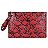 Fashion Wristlet Wallet Clutch For Women - Women Leather Snake Skin Crossbody Purse Clutch Large Phone Wallets for Women Fits IPhone XS Plus Ipad