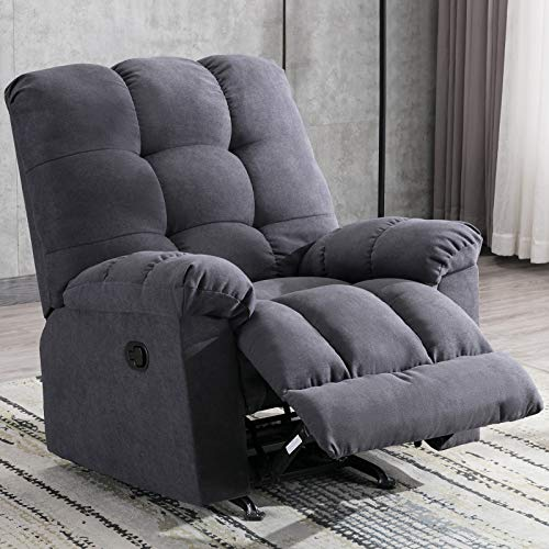 ANJ Rocker Recliner Chair Manual Reclining Chair Sofa Soft Contemporary with Thickness Armrest and Backrest, Navy