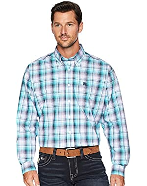 Men's Blue Plaid Long Sleeve Button Down Shirt - Mtw1104639
