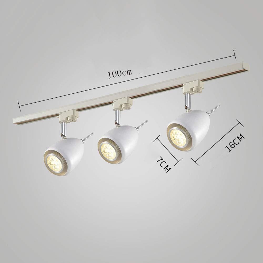 ZJⓇ Spotlight Track Light - Nordic Aisle Lights - Two Colors (Black/White) && (Size : White - Diameter 7cm - 3 Heads)