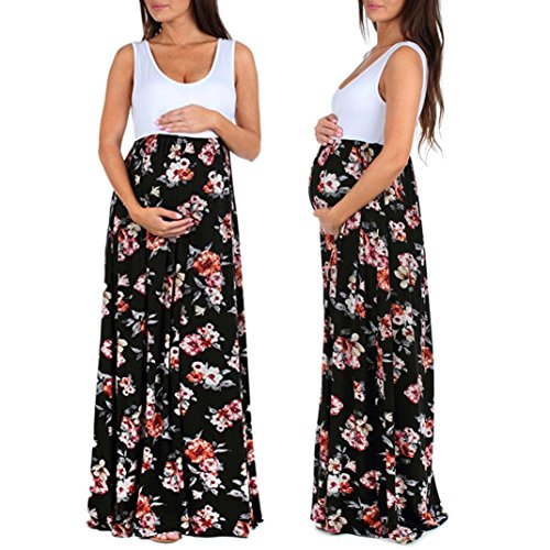 Women's Maternity Casual Boho Sleeveless Maxi Empire Waist Flower Printed Tank Ruched Beach Dress (M, Black)
