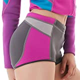 Wetsuit Shorts - Thick Warm Trunks Neoprene Pants Canoeing Snorkeling Swimming Women Weight Loss Sauna Pants Neoprene Workout Panties (Fuchsia-Middle Cut, L)