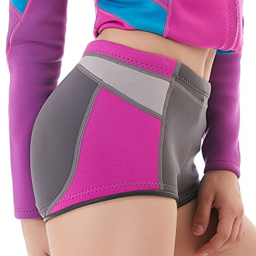 Paddling Suit (Neoprene Shorts - Wetsuit Pants Thick Warm Trunks Canoeing Snorkeling Swimming Women Weight Loss Sauna Pants Neoprene Workout Panties (Fuchsia-Middle Cut, M))